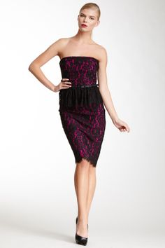 Robert Rodriguez Strapless Lace Dress