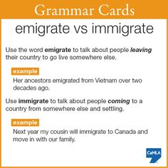 "It's easy to confuse the words ""emigrate"" and ""immigrate"" since they sound so similar. Both verbs are used to talk about people who move from one country to another, usually permanently."