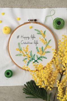 Tuto DIY: Une broderie de mimosa - Marie Claire Idées