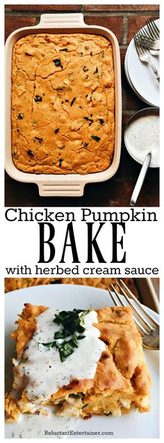 Chicken Pumpkin Bake with Herbed Cream Sauce is the ultimate fall dish to make ahead, and bake right before company comes to dinner Pumpkin Sauce, Pumpkin Butter, Baked Pumpkin, Pumpkin Pumpkin, Entree Recipes, Easy Dinner Recipes, Cooking Recipes, Pumpkin Casserole, Casserole Recipes