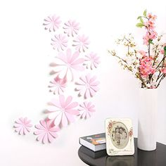 Amaonm 24 PCS Cute 3D DIY Flowers Wall Decals Removale Home art Decor Flowers Wall Stickers Murals for Kids Girls room Bedroom Weeding party Birthday Shop Windows Decorations Pink >>> Click on the image for additional details. (Note:Amazon affiliate link)