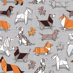 Origami doggie friends // small scale // grey linen texture background paper dogs by selmacardoso