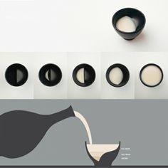 TALE - HOME アクセサリー   Monoco TALE - HOME アクセサリー 月の満ち欠けが楽しめるお猪口 飲み物を注ぐと月が満ちてゆき、お猪口で飲み進めていくとだんだん月が欠けていくという、とても素敵なセラミックグラス「Moon Glass」韓国のデザインスタジオ Taleの作品です。このスタジオは物語 (tale) のあるデザインを作ることをコンセプトに、プロダクト、グラフィック、カリグラフィー、エディショナルの分野の4人のデザイナーによって2010年に設立されました。 新月から三日月、半月そして満月に変わっていく様子は圧巻。