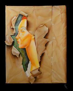 "Saatchi Art Artist christophe kro; Painting, ""Modigliani in torn packaging"" #art"