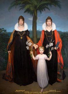 Wilhelmine, Hereditary Princess of Orange-Nassau, her sister Auguste, future Electress of Hesse-Kassel, and the latter's daughter Marie, by Friedrich Bury, circa 1808-1810.