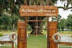 New oak tree wedding ceremony brides Ideas Oak Tree Wedding, Field Wedding, Wedding Doors, Wedding Entrance, Rustic Wedding, Wedding Ceremony, Dream Wedding, Ceremony Backdrop, Trendy Wedding