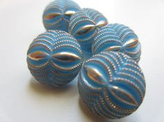 Vintage Buttons   lot of 5 matching Czech Glass by pillowtalkswf, $5.95