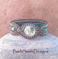 Turquoise Teal Silver Beaded Leather Wrap Cuff by BarbSmithDesigns