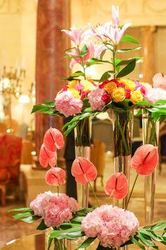 A contemporary flower arrangement inside Hotel Ritz, Madrid.