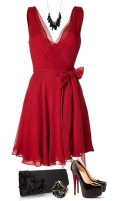 """""""Red and Black"""" by mandalorean ❤ liked on Polyvore - i don;t like the shoes, but the dress is beautiful"""