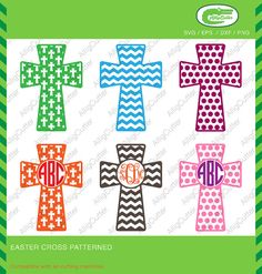 Easter Cristian Cross Patterned Frames SVG DXF PNG by Alligcutter