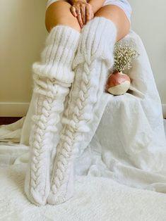 Fluffy Socks, Cozy Socks, Cable Knit Socks, Knitting Socks, Knitting Terms, Knit Stockings, Sexy Stockings, Thigh High Socks, Thigh Highs
