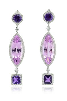 Margherita Burgener kunzite and amethyst earrings, highlighted by diamonds all around. One off piece available at Phillips NY sale, December 8th. you can try them on at Phillips   viewing or just bid online for them. Signed Margherita Burgener