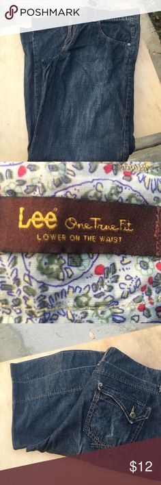 Lee Jeans One True Fit Wide Leg Hardly worn jeans, lighter material almost like a chambray.  Great condition. Lee Jeans Flare & Wide Leg