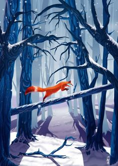 Winter woods by milesboard on DeviantArt – Tiertapete iphone Fuchs Illustration, Wallpaper Animes, Fox Drawing, Cute Animal Drawings, Fox Art, Cute Fox, Cute Wallpapers, Fantasy Art, Art Photography