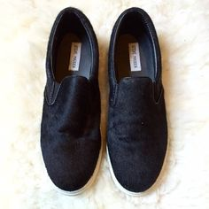 2xHPSteve Madden Black Pony SlipOn  Sneakers So chic and perfect for every day and all seasons. This is the hot shoe. Real black pony hair. Only worn twice. No trades, no PayPal. Steve Madden Shoes Sneakers