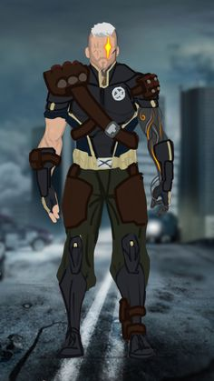 "For his look, I started with his dad's gear, and made it post-apocalyptic. I also made his techno organic arm more ""organic"" looking. Marvel Dc, Cable Marvel, Marvel Costumes, Marvel Cosplay, Comic Books Art, Comic Art, Marvel Concept Art, Dc Comics, Superhero Suits"