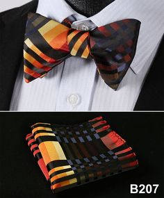 Check 100%Silk Jacquard Woven Men Butterfly Self Bow Tie BowTie Pocket Square Handkerchief Hanky Suit Set #B2