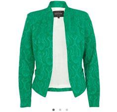 Green jacquard structured blazer