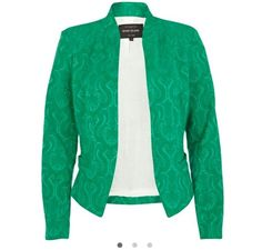 Green jacquard structured blazer