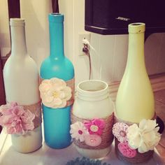 Handmade Wine Bottle Decor with flowers and by HanniesCreations