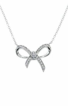 Sterling Silver Pave Bow Necklace ♥