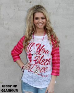 Adult All You Need is Love Valentine's Baseball Burnout with Pink Stripe Sleeves