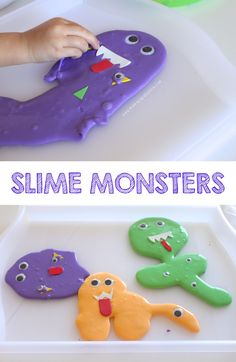 As I was looking back at some of the fun things we did last October, I came across our Franken-SLIME Halloween favours. It's been a long time since we whipped up a new batch of slime and we adore pla(Diy Slime Foam) Halloween Craft Activities, Halloween Crafts For Kids, Halloween Projects, Halloween Fun, Kid Projects, Kids Crafts, Toddler Preschool, Toddler Activities, Big Green Monster