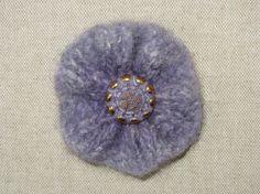 Brooch Felted Flower Purple by Blossomshkd on Etsy, $10.00