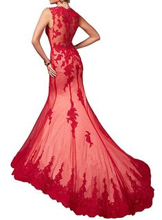 Amazon.com: Dressylady Women's Illusion Prom Dress V Neck Applique Mermaid Formal Pageant Evening Gown(16): Clothing