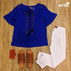 Tranquilidade para dias normais 🍃 #lojaamei #azulbic #jeans #branca #rasteirinha #etiquetaamei