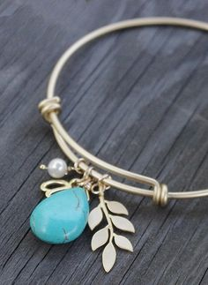 Leaf Branch Bracelet Gold and Turquoise Bangle