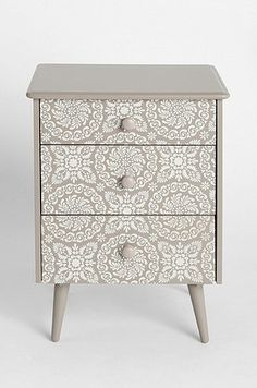 Take a cabinet and mid century legs. Paint to match. Adorable!