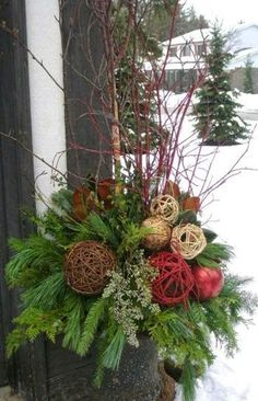 Christmas Decorations – Grand Entrance Display for Pickering College Tour- small urn by joyce Christmas Urns, Outdoor Christmas Decorations, Rustic Christmas, Christmas Projects, Winter Christmas, Christmas Holidays, Christmas Wreaths, Holiday Decor, Winter Porch