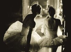 Love this shot of the tiara adorned ballerinas waiting to go on stage.