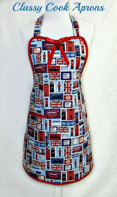 Apron LONDON, Red White & Blue, Union Jack, Buses, Palace Guards, Designer Hostess Pretty Party Kitchen Gift