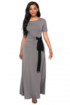 Chic Casual Gray Wrap Gather Waist A-line Maxi Dress