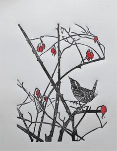 Wren among the thorns Linocut www.deborahvass.com https://www.etsy.com/uk/shop/DeborahVass