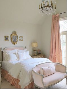 Blush pink silk curtains