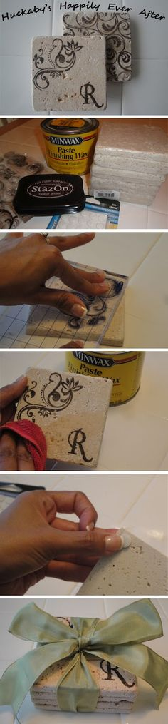 cheap and easy stamped coasters made from affordable bathroom tiles. this blog shows step-by-step how to make these. great gift to give for house warming, bridal/wedding, christmas, etc. cute and useful