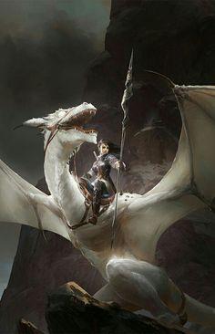 """char-portraits: """" fantasyartwatch: """"Blind Dragon by Kan Liu """" [suggested b. - char-portraits: """" fantasyartwatch: """"Blind Dragon by Kan Liu """" [suggested b… – Malerei – - Fantasy Kunst, Anime Fantasy, High Fantasy, Fantasy World, Fantasy Art Women, Creation Art, Dragon Artwork, Dragon Rider, Dragon Warrior"""