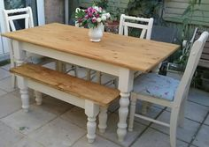 Shabby chic solid pine farmhouse table 4 chairs and bench cream on Gumtree   Hi IShabby chic solid pine farmhouse table 4 chairs and bench cream on  . Shabby Chic Dining Table Chairs And Bench. Home Design Ideas