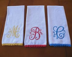 Monogrammed Dish Towel Monogrammed Kitchen by CrystalCreates2001