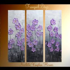 "Original 3 Panel  DEEP Gallery canvas abstract  Modern 36"" palette knife signature Impasto floral Oil painting by Nicolette Vaughan Horner"