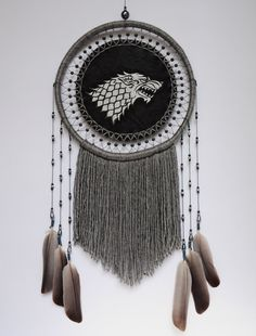 Game of Thrones Wall Hanging House Stark Dream Catcher by GrandpaO