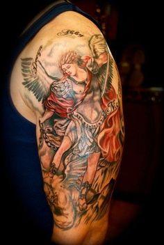 St Michael Tattoo Upper Arm - Shoulder Design, St Michael The Archangel Tattoo Tattoo Foto, Tatoo Art, I Tattoo, Samoan Tattoo, Miami Ink Tattoos, Body Art Tattoos, Sleeve Tattoos, Archangel Michael Tattoo, St Michael Tattoo