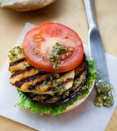 Grilled halloumi and pesto burgers . Stylist Magazine .