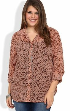 Plus Size Long Sleeved Equipment Top in Leopard Print