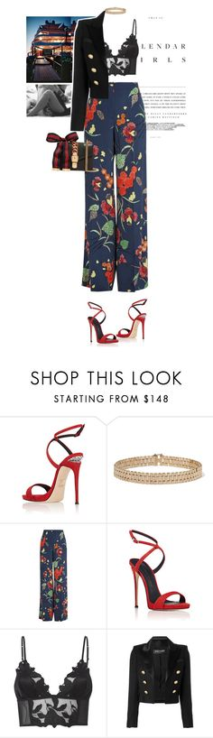 """""""You used to tell me that you loved me once, what happened? Where is all this coming from, what happened? You say I'm crazy and there's nothing wrong, you're lying and you know I know. Baby, what have we become, what happened?"""" by vicky-carter ❤ liked on Polyvore featuring Luxo, Giuseppe Zanotti, Kerr®, Lanvin, Diane Von Furstenberg, Fleur du Mal, Balmain and Gucci"""