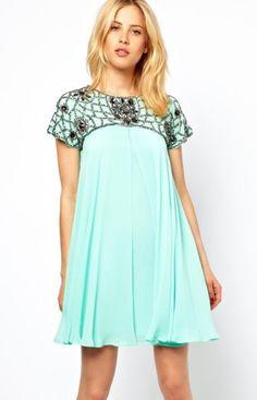 Green Rhinestone Chiffon Dress - Sheinside.com